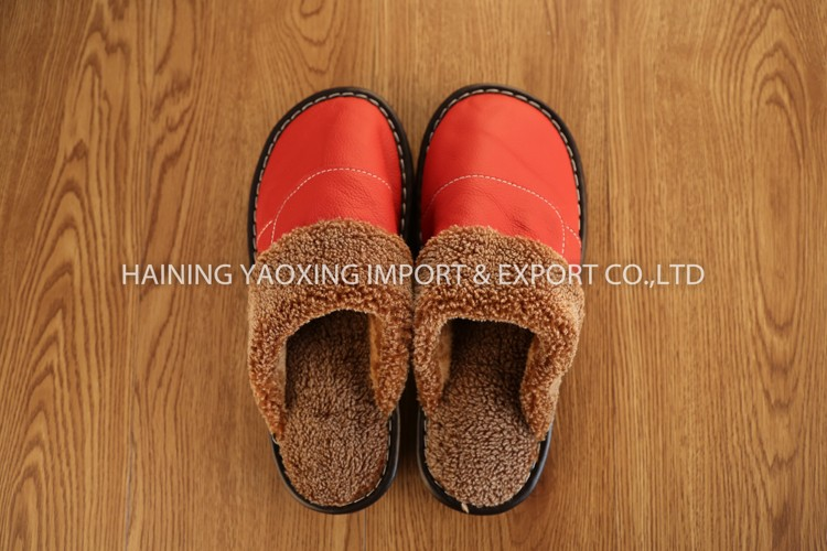 Hot genuine leather cow girls slippers custom manufacturer