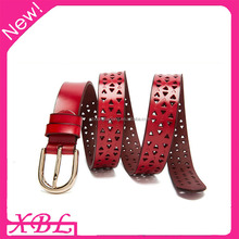 XBL ladies belt 2016 new vintage RED cowhide genuine leather belt for women