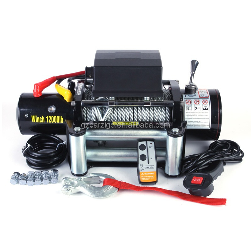 12v 12000lb front mounted self recovery winches for 4x4 cars with CE and RoHS approved