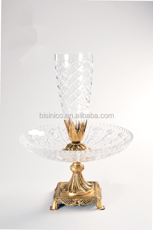 Home Decoration Classical Brass with Crystal Vase (BF01-0232)