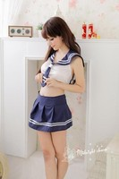 Sailor Suit Blue and White School Girl Cosplay Costume Sexy Uniforms Q11