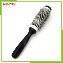 good quality plastic round hair brush with nylon and wooden handle hair straightening brush