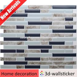 Good quality easy mosaic design vinyl tile peel and stick for kitchen