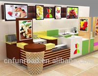 Ice cream Kiosk Furniture / food mall kiosk with led light in shopping center