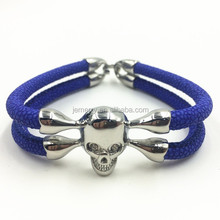 Men Stingray Leather Jewelry Stainless Steel Skull 5MM Stingray Bracelet Bangle for Gift