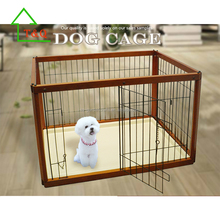 Oak Wood Galvanized Portable Metal Pet Cage Dog Box Kennel