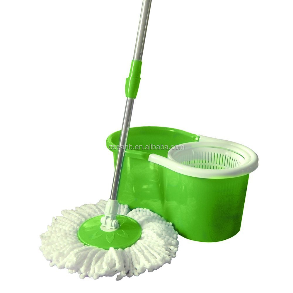 Spin Bucket System Mop with Extended Length Handle 2 Microfiber Mop Heads Rotation Easy Floor Mop