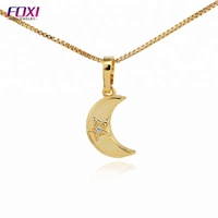 christmas jewelry moon and star shaped necklace pendant for women and girl