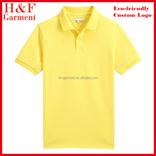 Yellow polo golf shirt made of 100% cotton pique