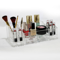 Small 13 compartment Lucite clear mini acrylic cosmetic storage holder makeup organizer acrylic sdisplay stand w/ 1 drawer