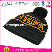 2013 Fashion Letter Stripe 100% Acrylic Knitted Helmet Hat