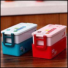 PP Beautiful 2 Layer Bento Lunch Box Plastic Food Container Students Box For Kids BPA FREE wholesale manufacturer
