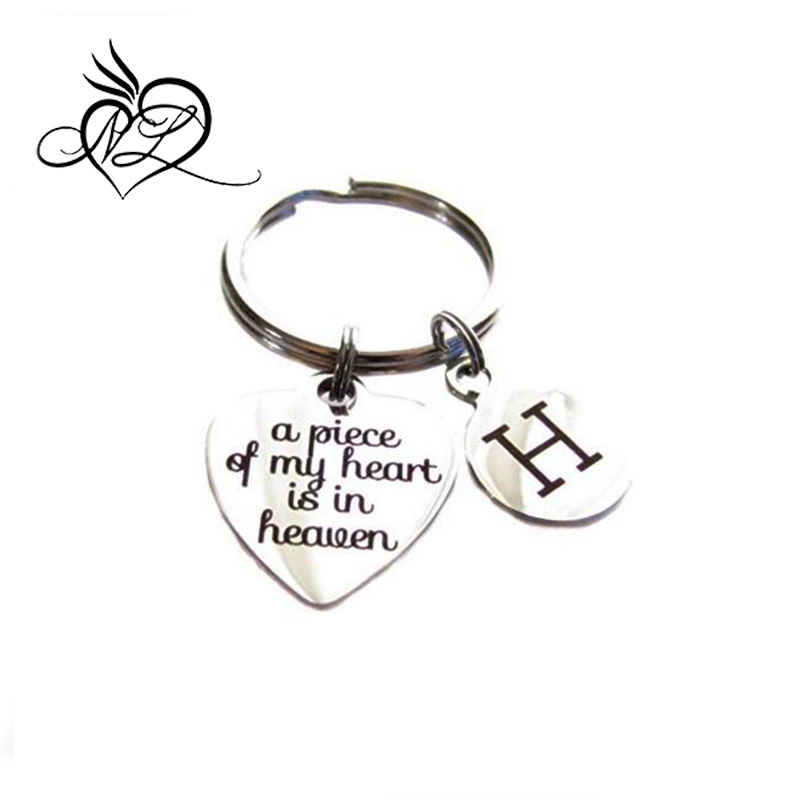 "Custom Stainless Steel ""A Piece Of My Heart Is In Heaven"" Initial Memorial Keychain"