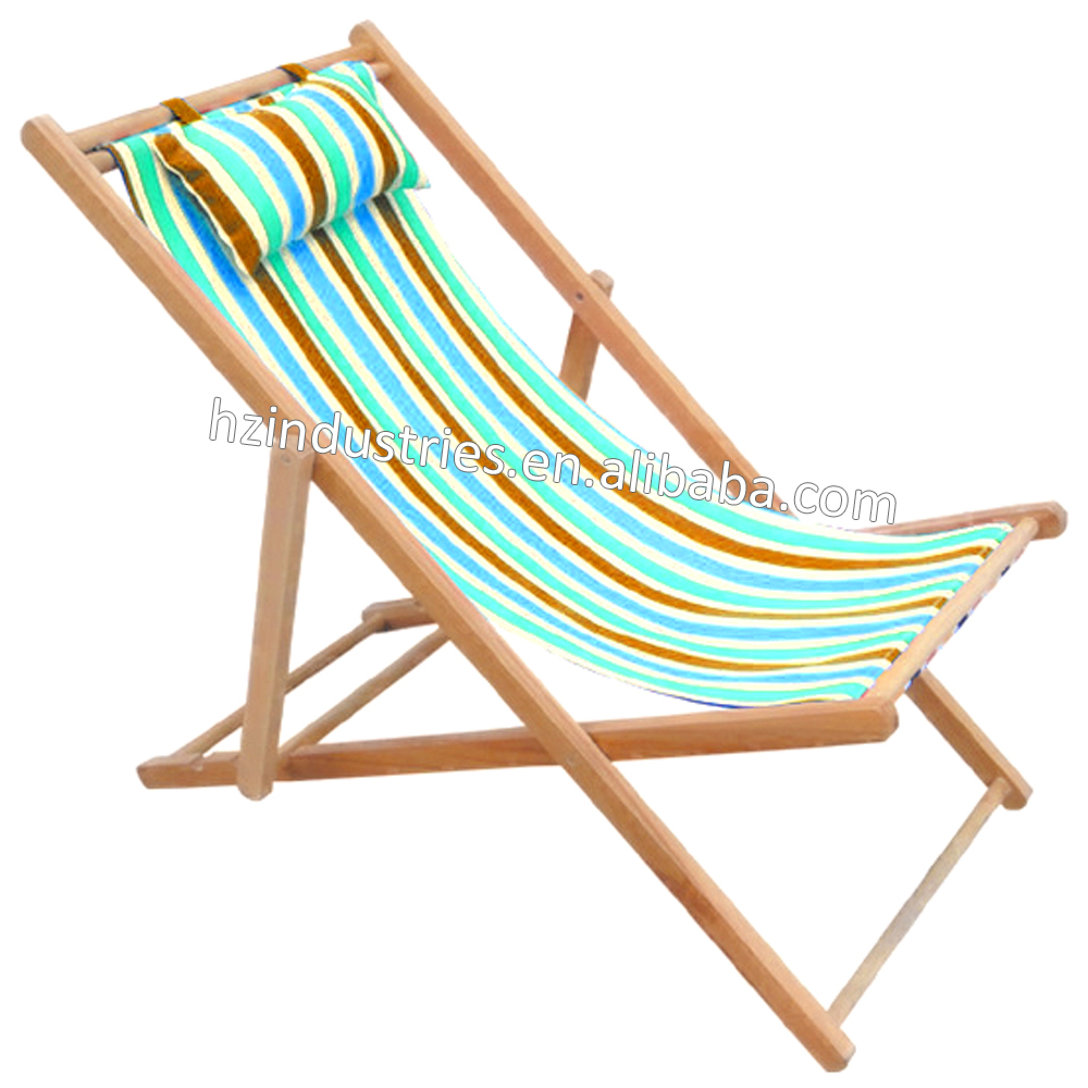 Modern foldable wooden canvas deck chair