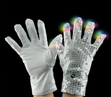 Magic white LED Flashing Finger Tip sequin Gloves Rave Glow Flashing Lights Light Up Club Dance PARTY FAVOR