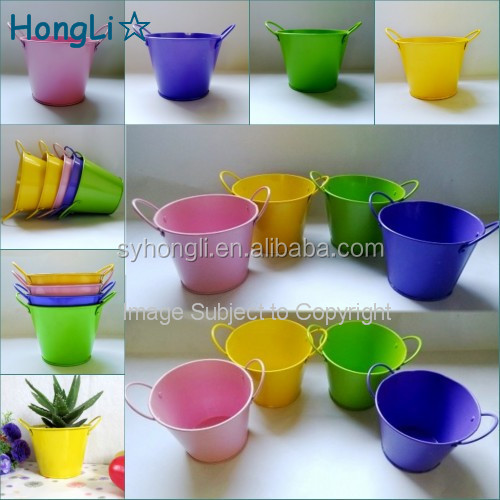 Multi Color Shiny Printing Tin Bucket Pails for Garden Decorative