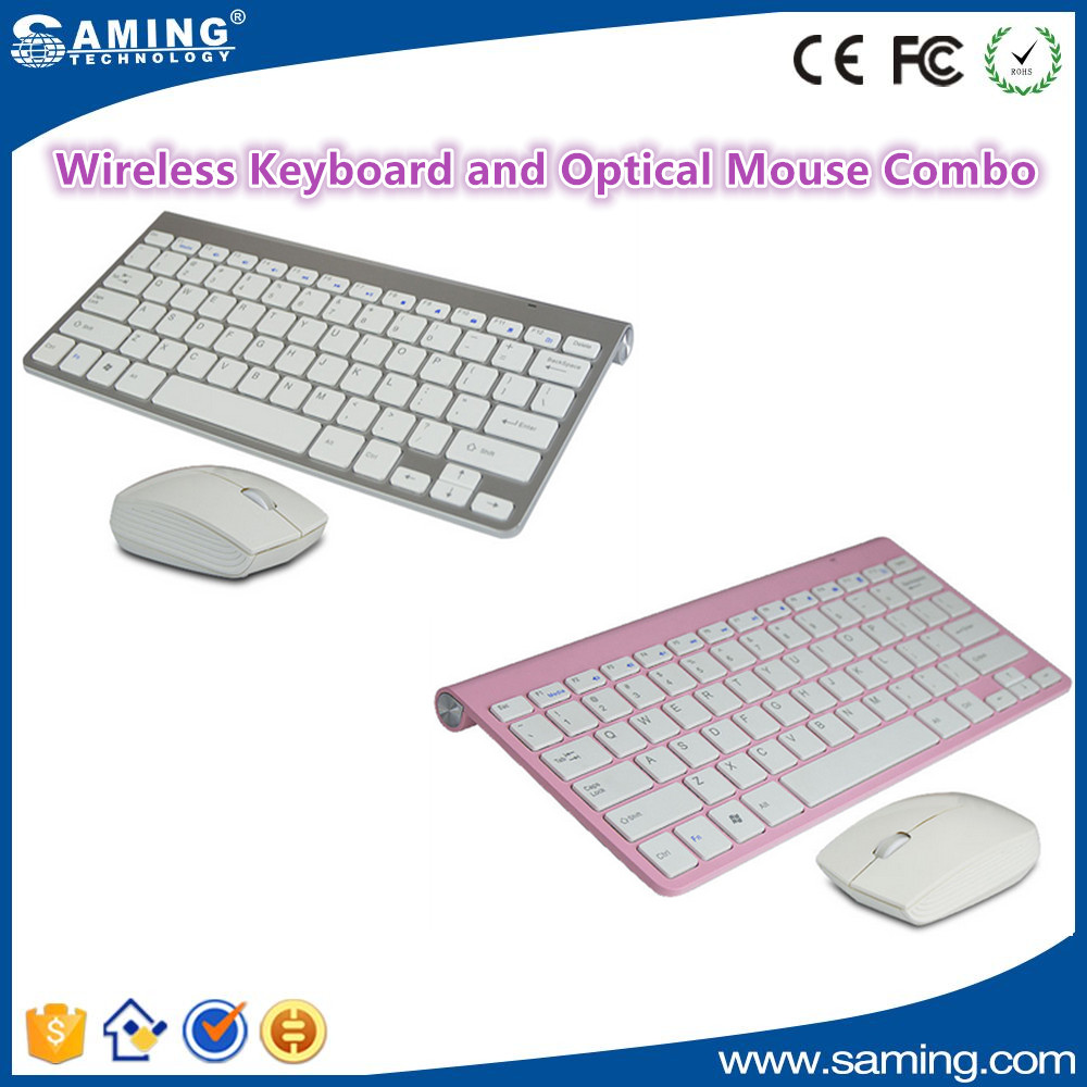 Silver and Pink Wireless Keyboard & Mouse Combo for tablet pc