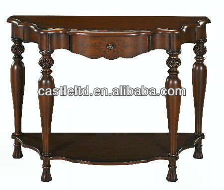 Classic sollid wood Carved console Table bottom with half round panel as base frame