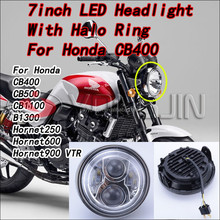 DOT and Emark approved 7inch Round Headlight With halo ring For Honda CB500 CB1300 Hornet250 Hornet600