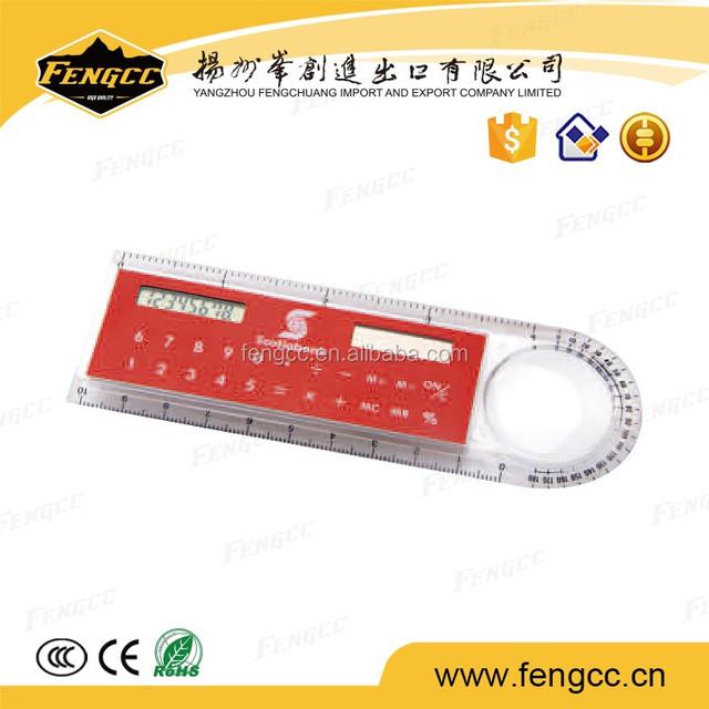 Promotional Custom School Office Gift 10cm Ruler Solar Calculator Wholesale