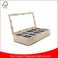 Custom Wood Watch Display Case 10 Grids Watches Box Packing Gift Box for Watches