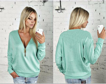 2017 Whloesale Women Sexy Zipper V Neck Long Sleeve Tops