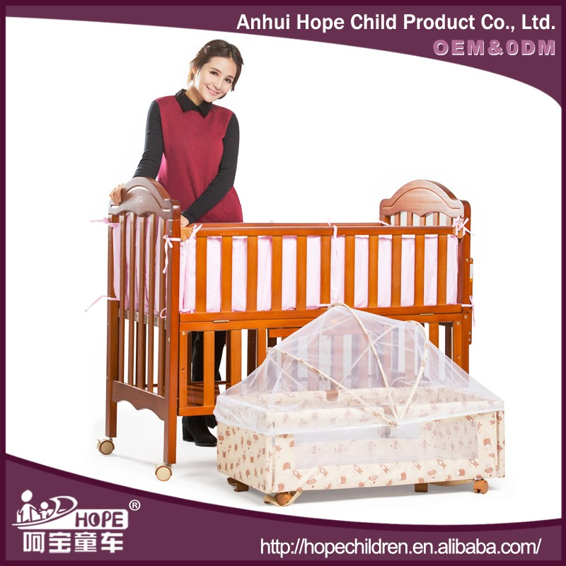 Hottest Selling Wooden Baby Crib Made of Imported New Zealand Pine Wood
