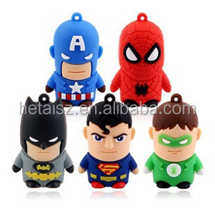 Quality 3D cartoon America Superhero USB flash drive, mixed models, America captain, batman, spideman, ironman,