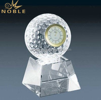 Noble Blank Corporate Table Crystal Golf Ball Clock For Decoration Or Souvenir