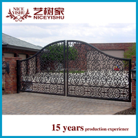 Factory Price Decorative sliding gate design /wroguht iron gates and wrought iron component for picket fence and gate