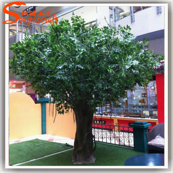 high quality cheap price indoor decorative artificial oak tree plastic live ficus tree