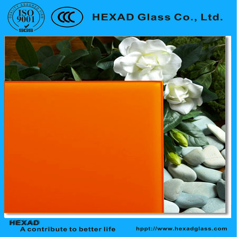3mm to 8mm Orange Classic Back Painted Glass ( Lacquered Glass ) For Interiror Applications