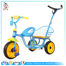 Cheap china ride toys pedal three wheels bike two seat kids double seat baby twins tricycle for children