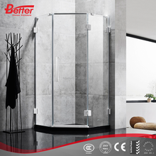 Simple design walk in frameless safety tempered glass shower cabin