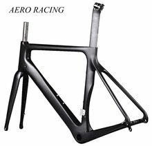 Affordable Aerodynamic Carbon Fiber Aero Road Cycling Bike frame 28C Tire DI2 Disc brake frameset