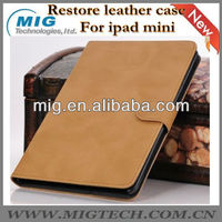 Restore style leather case for ipad mini, for ipad mini