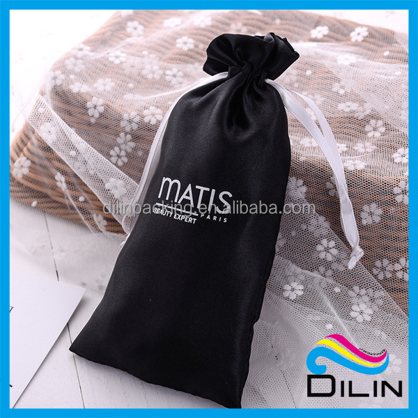 black and white long Selfie stick packing satin packing pouch
