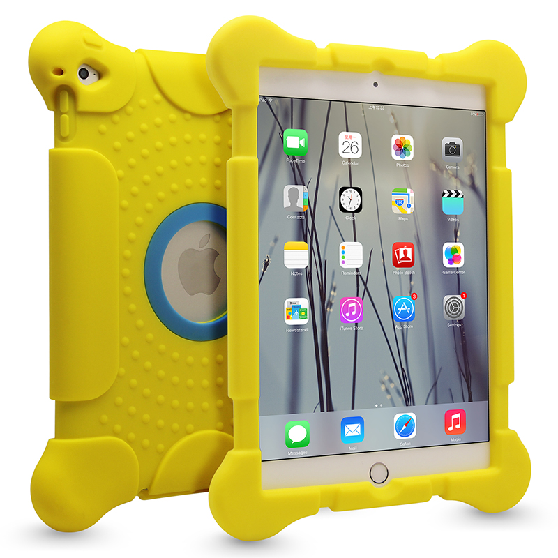10 inch tablet pc silicon case for ipad air/air2,shockproof yellow case for tablet