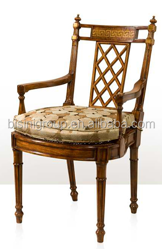 New Arrival Exquisite Victorian Style Replica Solid Wood Carving Leather  Chair With Goose Arms And Chinoiserie