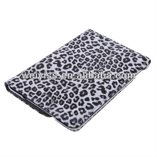 Leopard Print Rotating Folding Cases for iPad Mini - Grey & White