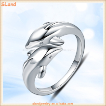 Love infinity couples Jewelry Adjustable cuff style 925 Sterling Silver Double Dolphin Rings online wholesale