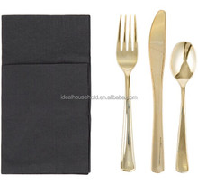 EaMaSy Gold Heavy Weight Plastic Cutlery Set with Black Pocket Fold Napkin ,plastic tableware