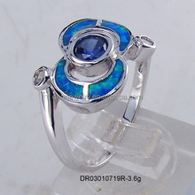 High Quality ! 925 <strong>Silver</strong> With Opal Stone Blue Fire Women Bijoux Rings Made in China DR03010719R