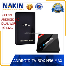 2017 factory price RK3399 six core 2.4G+5G wifi 4k H96 MAX best android 6.0 smart tv box
