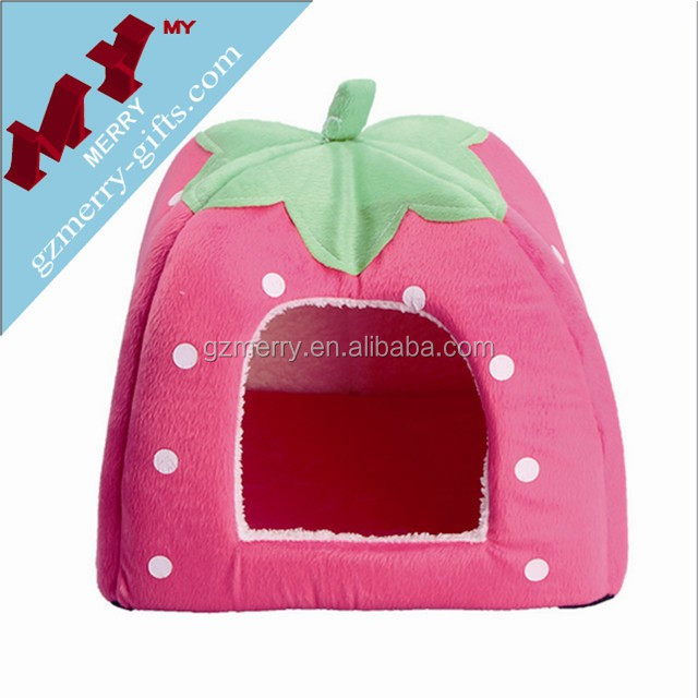Strawberry shaped colorful pet home dog bed