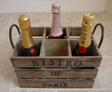 Shabby French Vintage Chic Wooden Crate Wine Bottle Holder Industrial Box