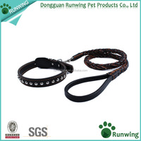 Real Leather Pet Dog Leash and Collar Set for Large and Medium Dogs