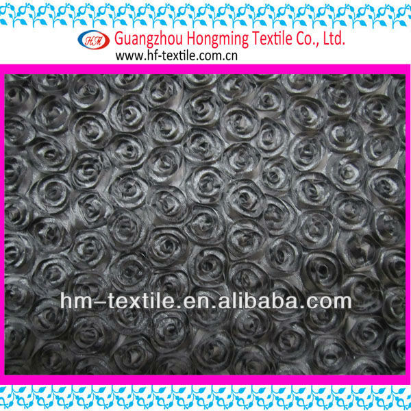 rose taffeta coiling ribbon embroidery fabric for dress