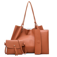 4pcs in 1 set female leather bags fashion long straps daily Large Capacity Tote Bag Big Ladies Shoulder Bags Famous Brand