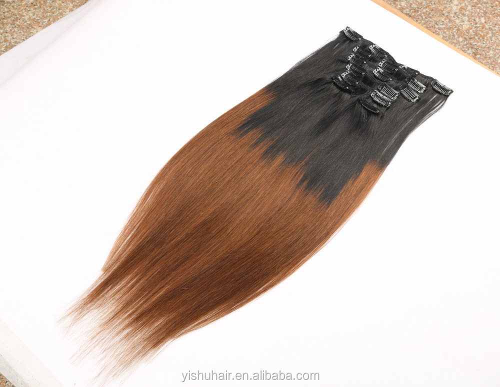 Ombre color clip in hair extension human hair for black women